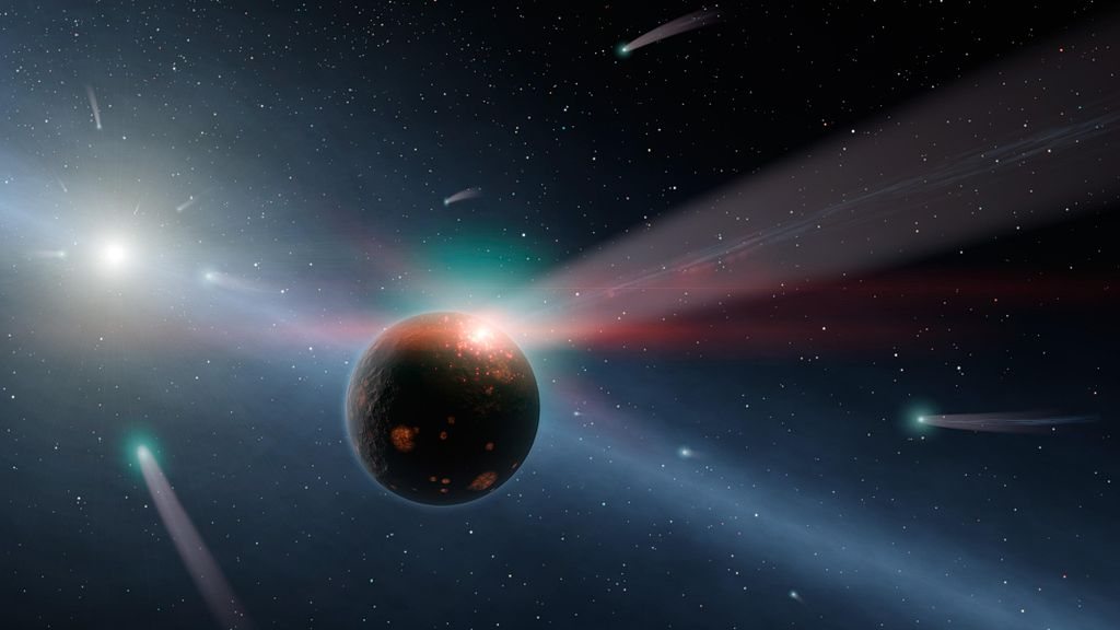 Artist's conception of a comet smashing into an icy planet