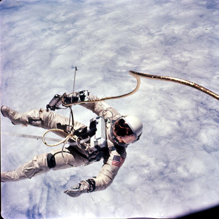 Astronaut Edward White during a spacewalk in 1965.