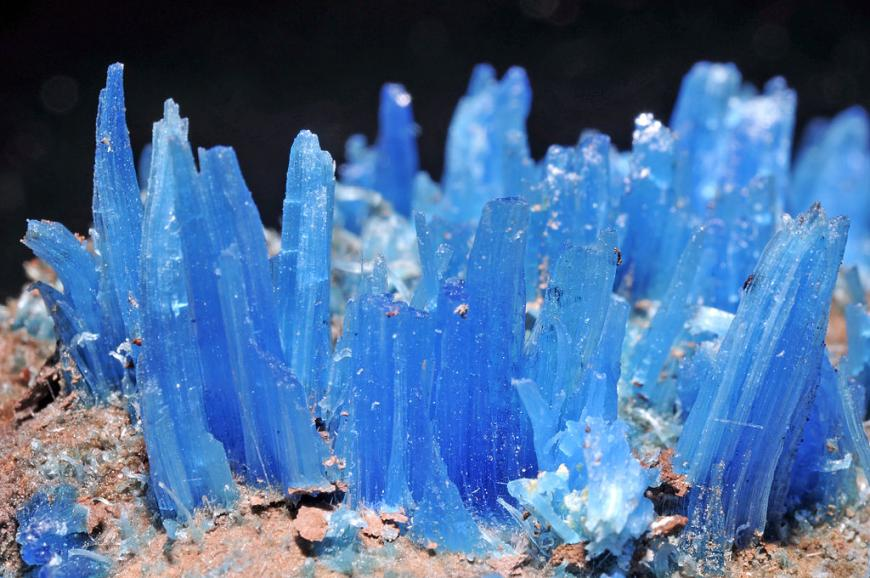 A bright blue cluster of crystals