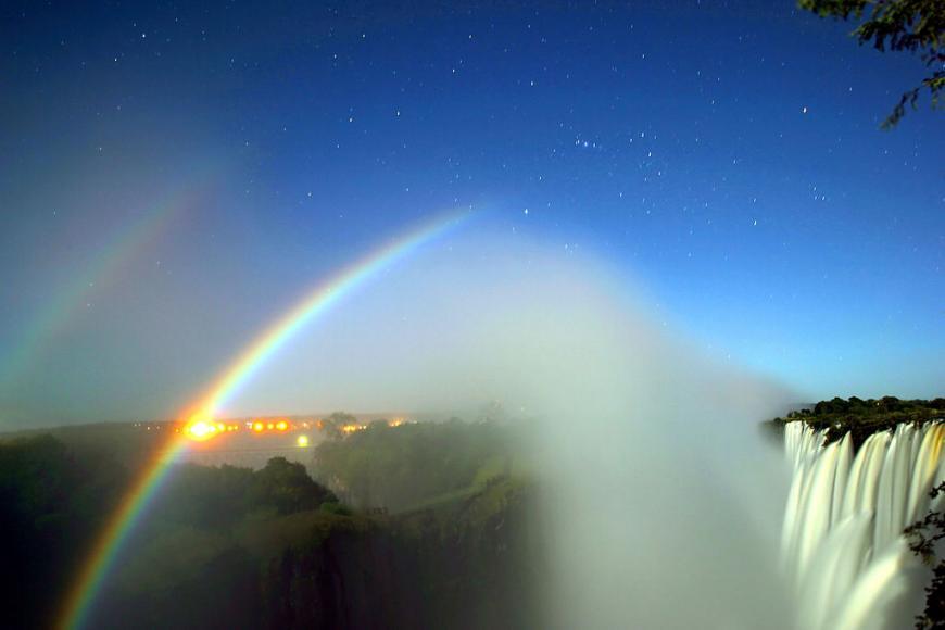 Lunar rainbow (moonbow) at Victoria Falls