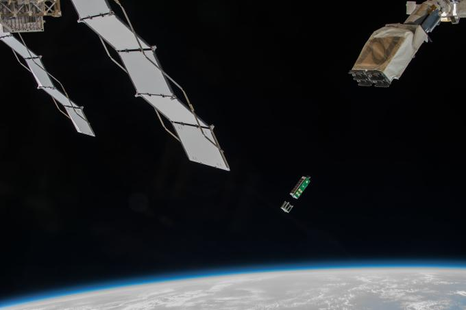 Arkyd 3 Reflight deploying from the ISS