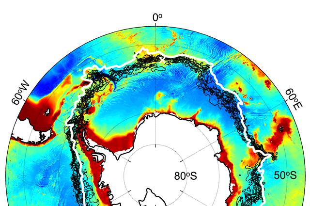 Antarctic Circumpolar Current plotted against a chart of ocean depths