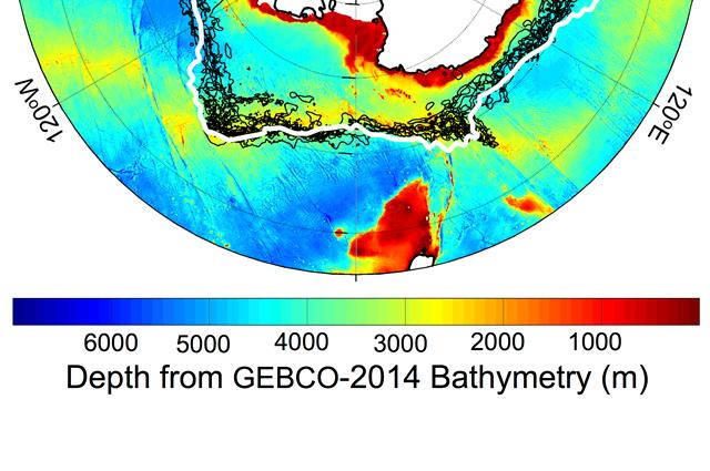Antarctic Circumpolar Current plotted against a chart of ocean depth