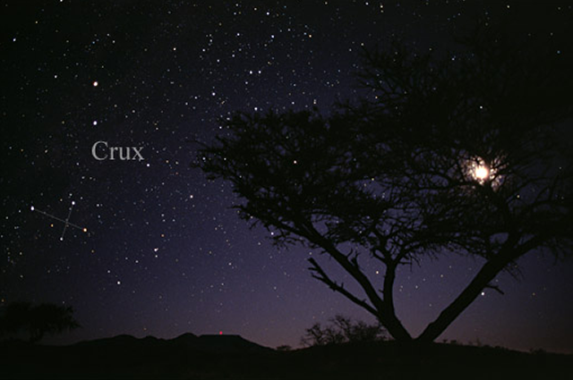 The Southern Cross constellation, or Crux