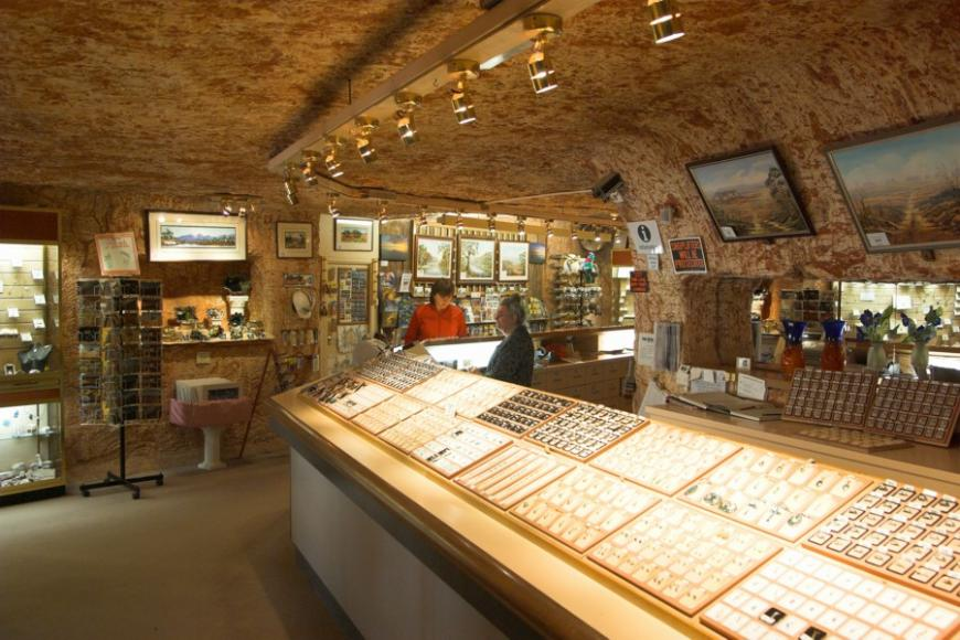 A jewellery shop in the underground village of Coober Pedy
