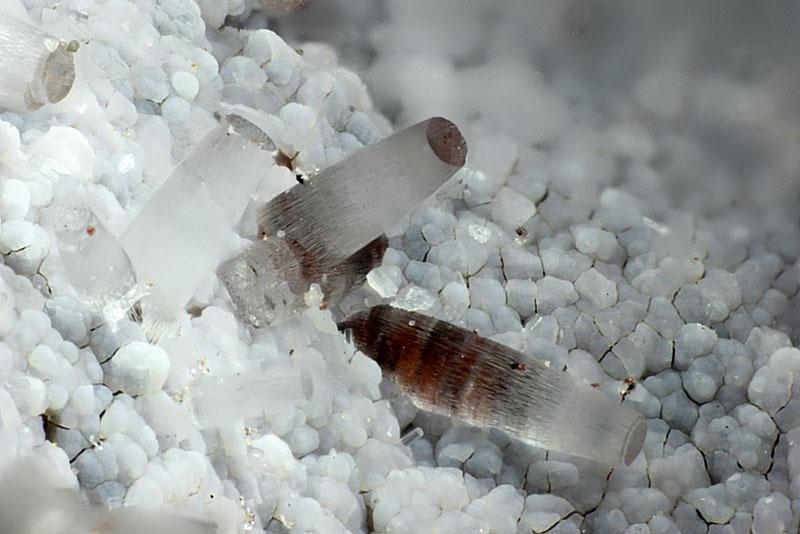 A white translucent gemstone, growing in cylinders