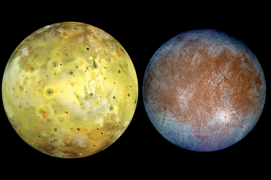 Io in natural color (left) and Europa in false color (right)