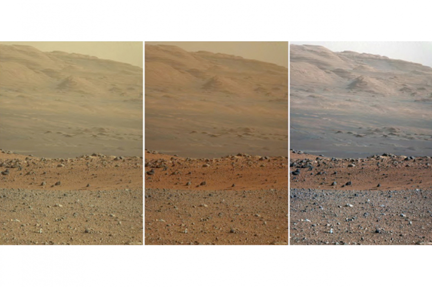 Three versions of the same view on the surface of Mars from NASA's Curiosity rover.