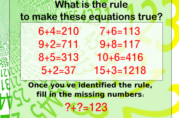What is the rule to make these equations true? 6+4=210, 9+2=711, 8+5=313, 5+2=37, 7+6=113, 9+8=117