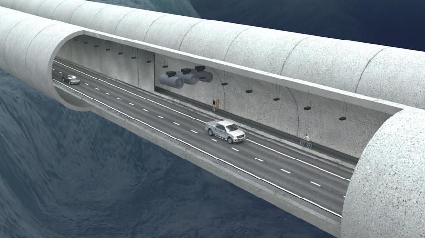 Concept art for Norway's underwater floating bridge