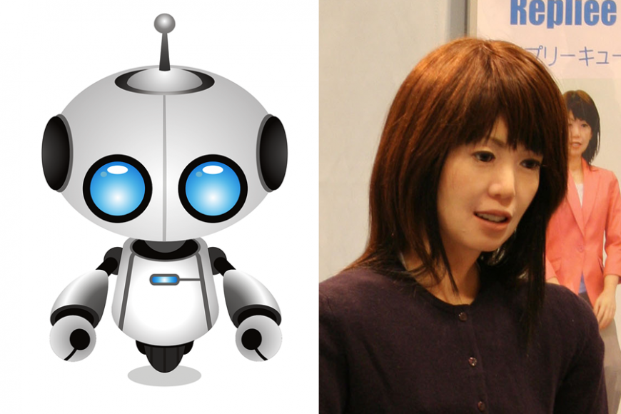 Two robots, one is a cartoon with big round eyes, the other has humanoid features like skin and hair.