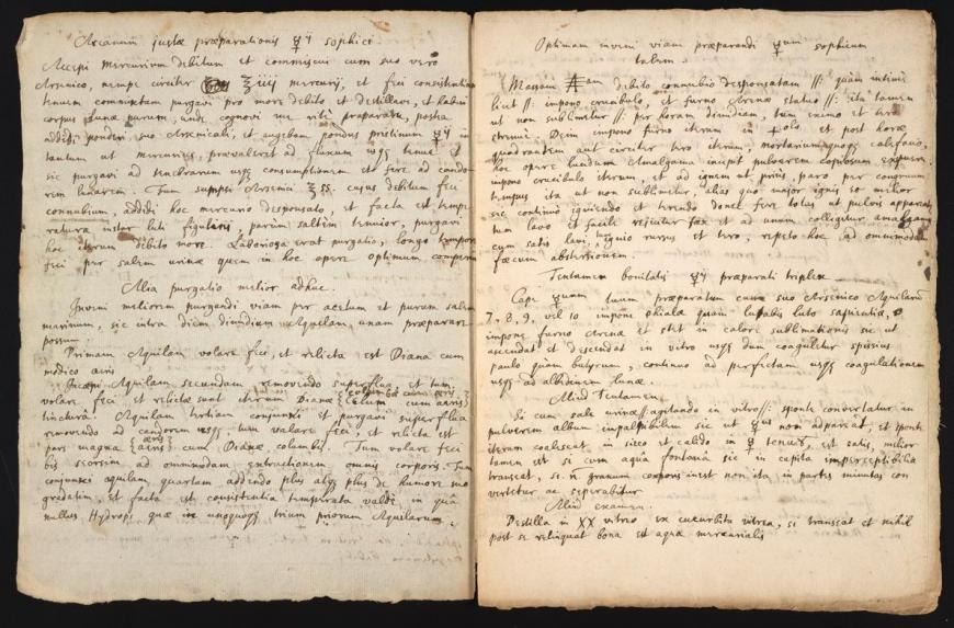 Newton's alchemy manuscript describing sophick mercury, an ingredient in the Philosopher's stone