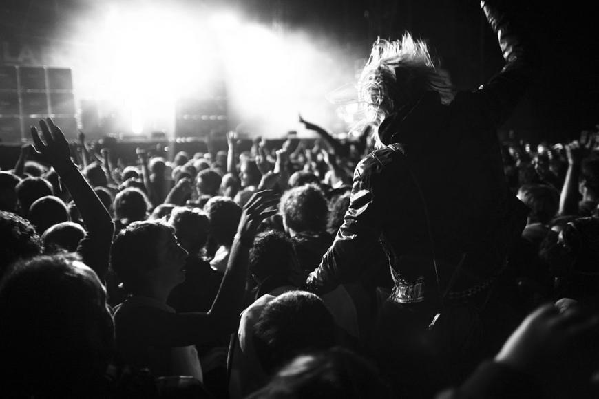 Fans at a rock concert, black and white