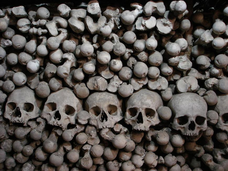 Humans skulls and bones at Sedlec Ossuary (Church of Bones)