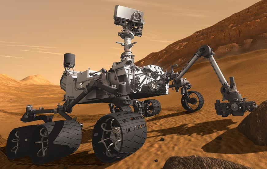 Artist's impression of the Curiosity rover exploring Mars for signs of life