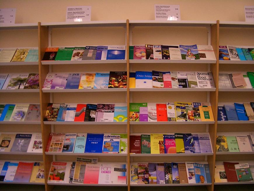 Shelves of academic journals