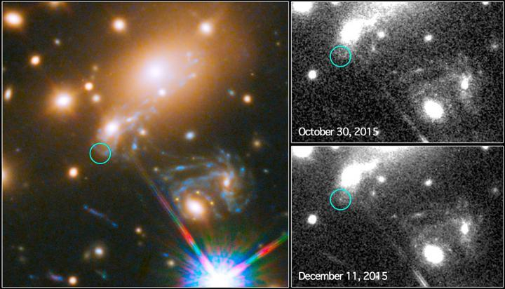 Images captured from Hubble of an exploding supernova