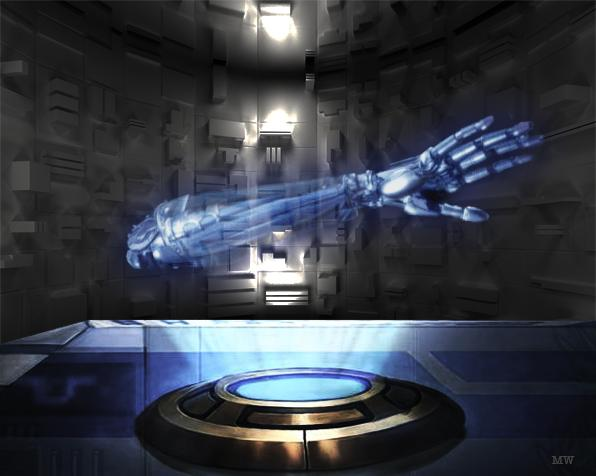 artist's impression of a hologram of an arm