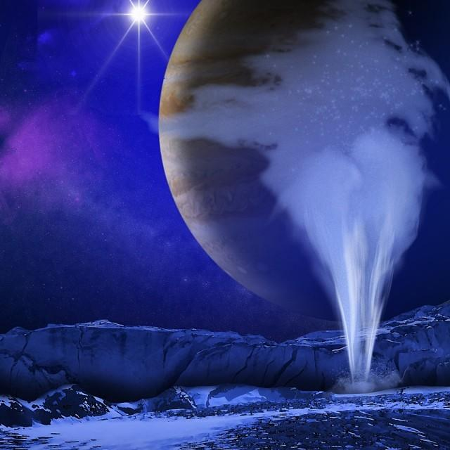 Ice on a planet in space