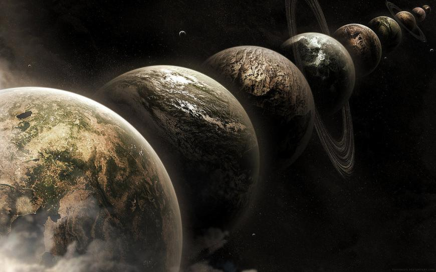 artist's impression of parallel universes