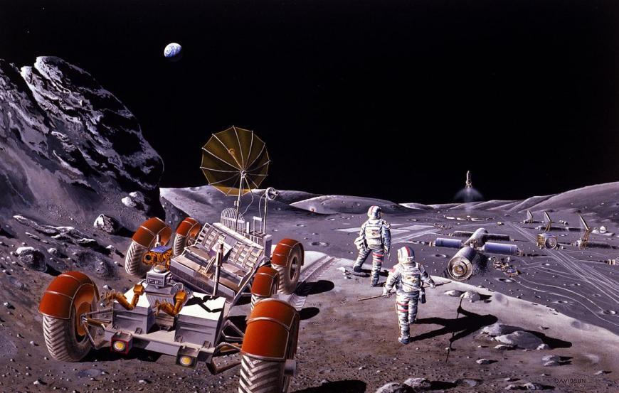 Artist's concept from 1980s of a lunar colony