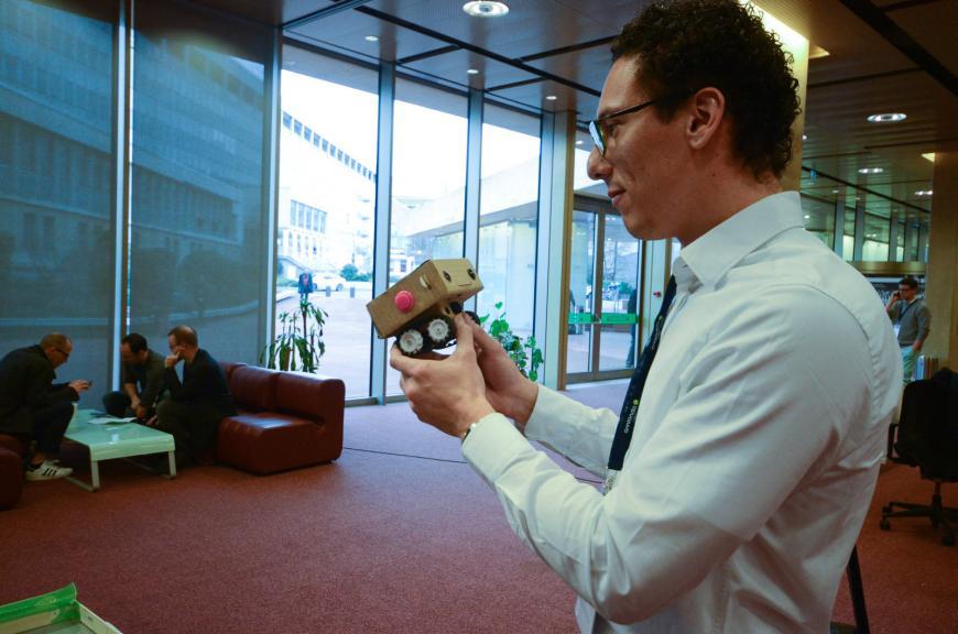A Blabdroid robot talks to a human