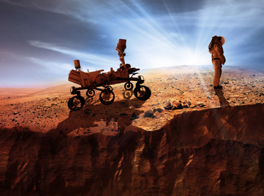 Artist's impression of an astronaut on the surface of Mars