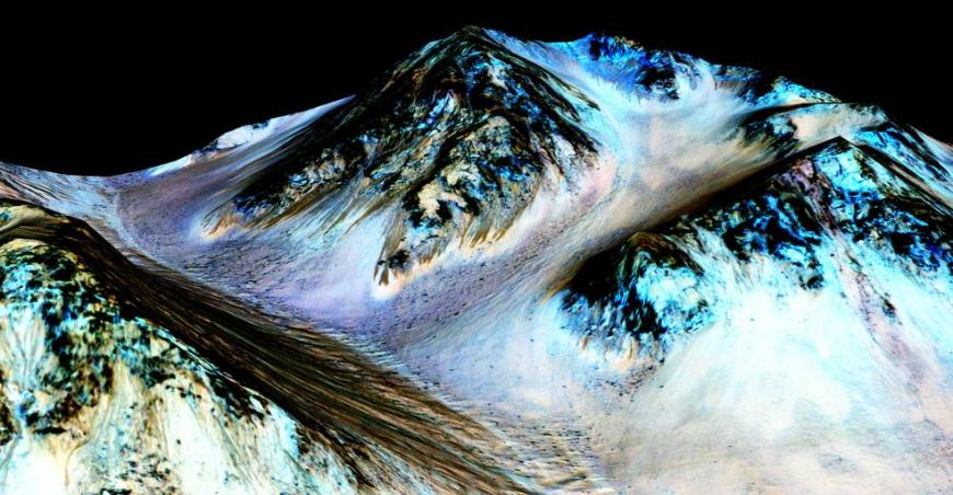 recurring slope lineae (RSL) flowing downhill on Mars are inferred to have been formed by contemporary flowing water.