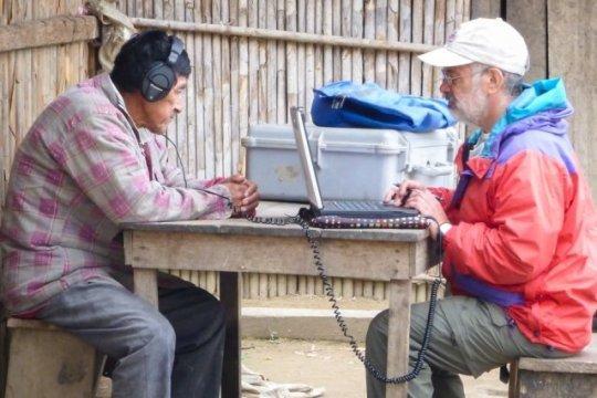 Ricardo Godoy conducting experiment in Bolivia