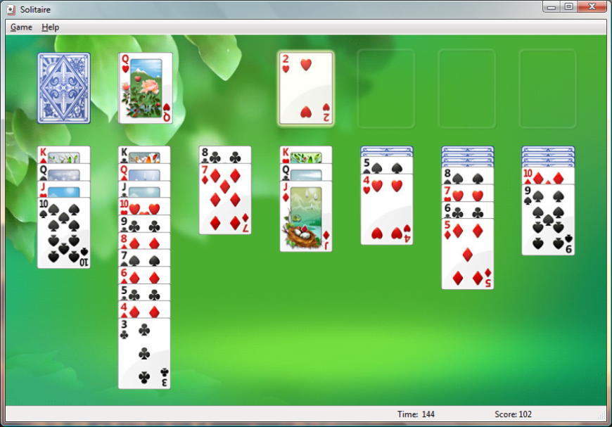 Screenshot of solitaire game on Windows Vista
