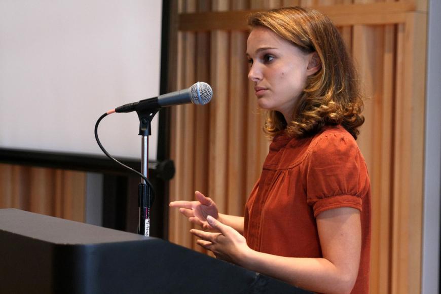 Natalie Portman speaking at Columbia University