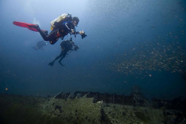 Scuba diving in a ship wreck
