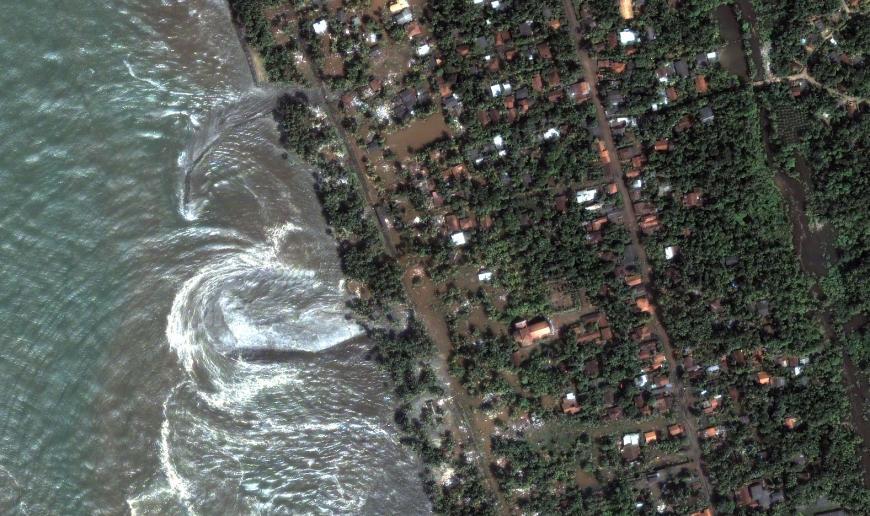 Satellite imagery of Kalutara Beach after a tsunami