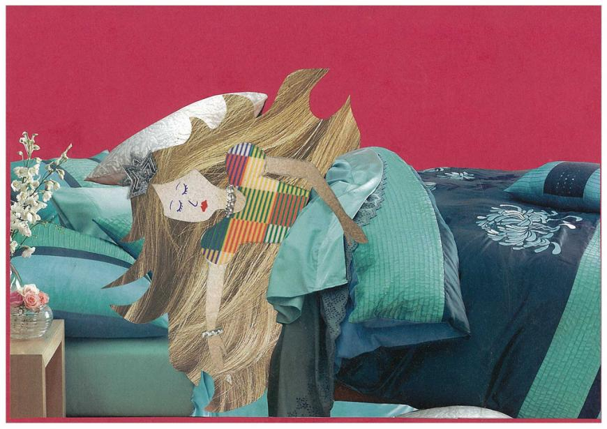 Mixed media cutouts of sleeping beauty