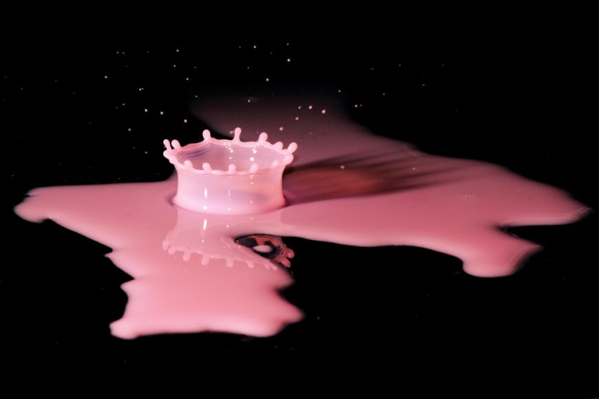 A splash of pink paint