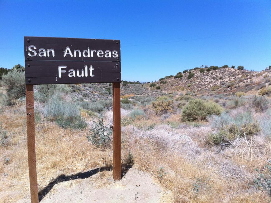 Sign at the site of the San Andreas fault