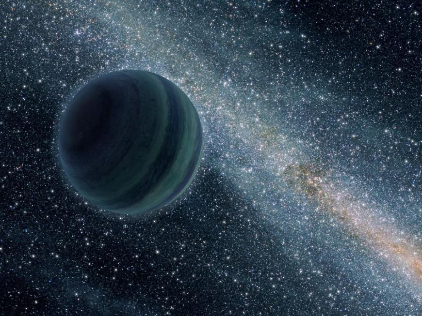 This artist's conception illustrates a Jupiter-like planet alone in the dark of space, floating freely without a parent star.