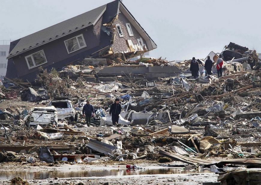 The devastation following an earthquake in Japan