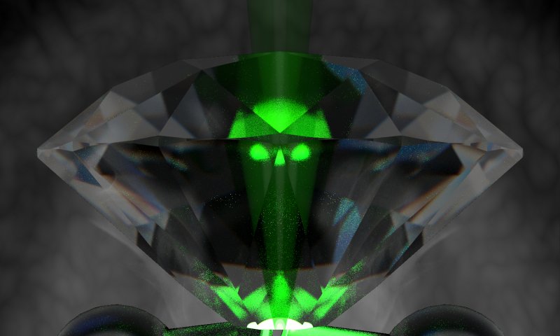 Artistic representation of a diamond crushing a glowing green hydrogen molecule