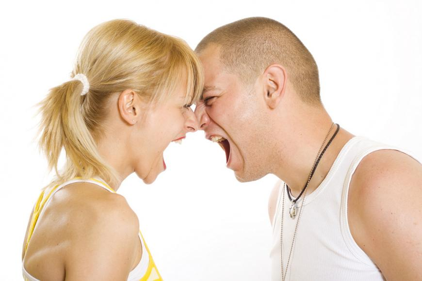 A couple arguing, yelling at each other