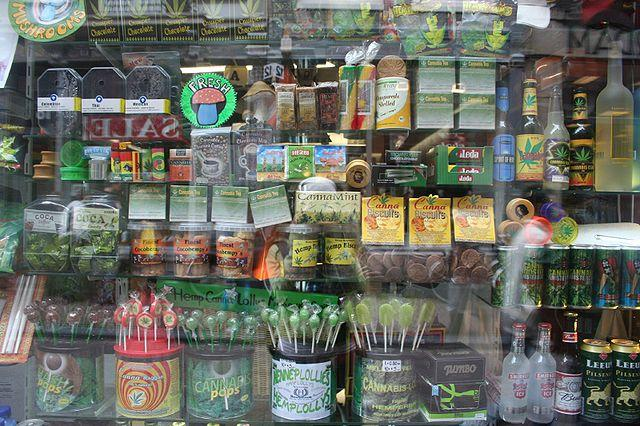 Edible cannabis products in a shop window