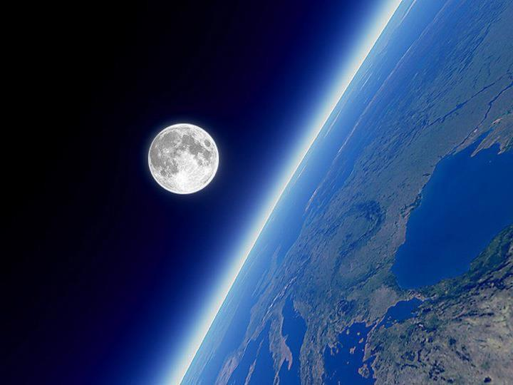 Moon above Earth's surface