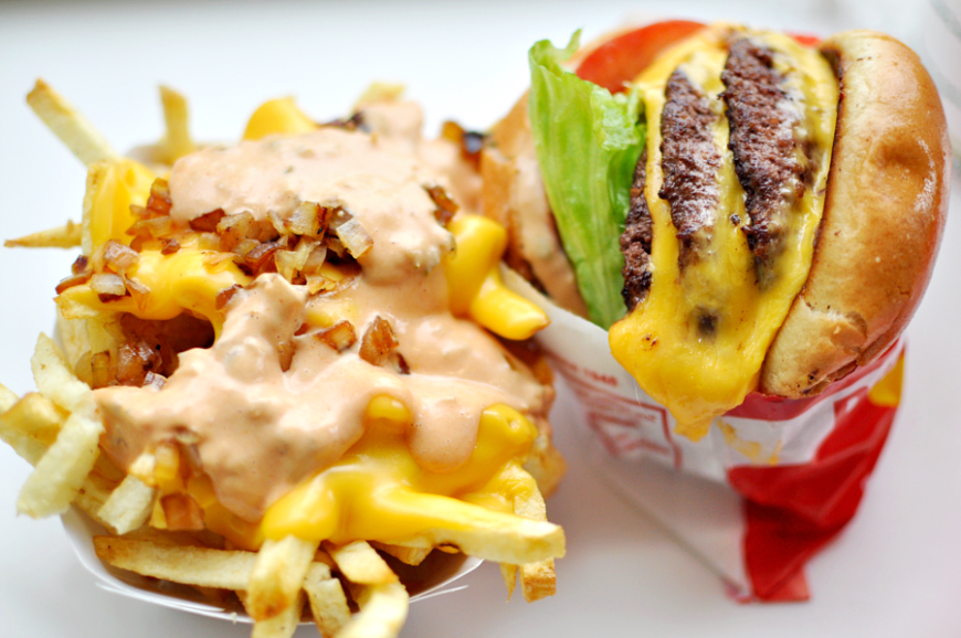 Greasy fast food. Fries and burger