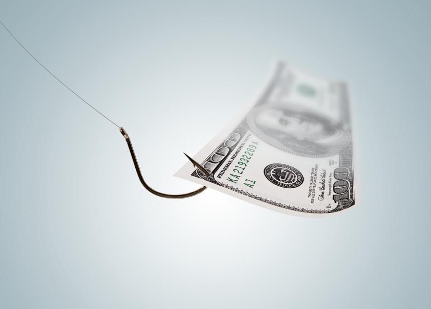A 100 dollar bill on a fishing hook