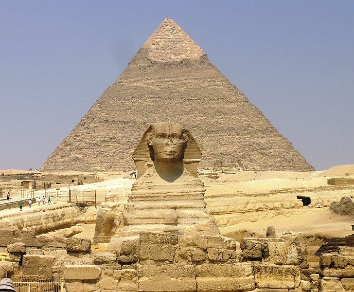Great Sphinx with a pyramid behind it