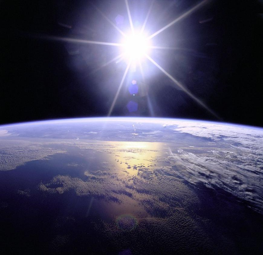 Sun rising over Earth
