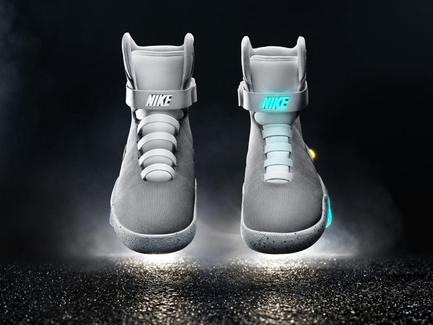 Nike's Self-lacing shoes from Back to the Future Part II. Photo  credit: Nike Mag