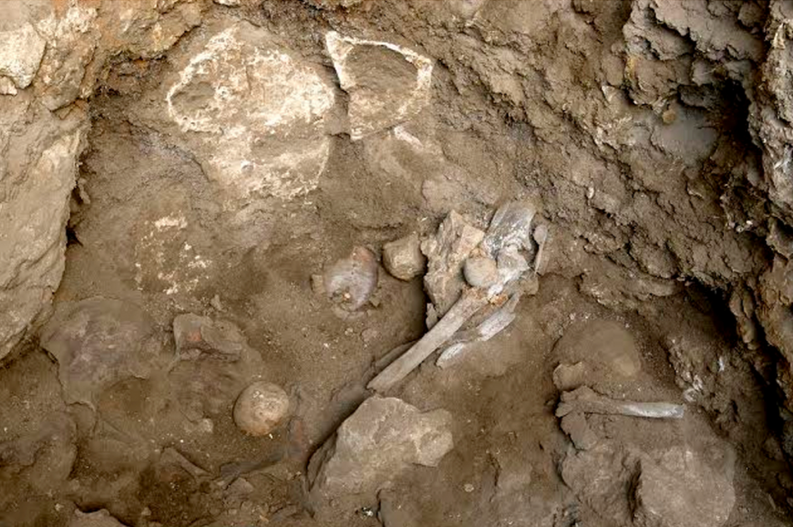 Bones of a woman discovered in a ancient burial site in in northern Israel.