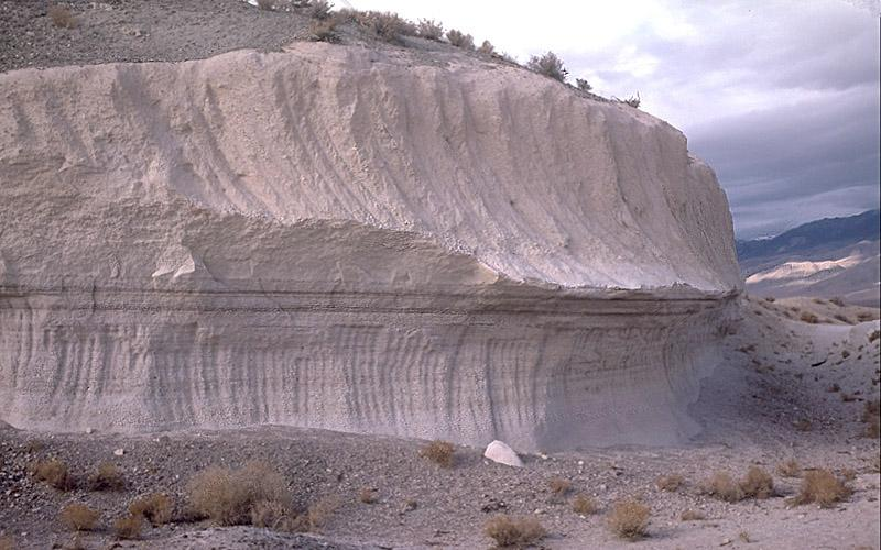 Bishop Tuff, an outcrop in California is evidence of an ancient volcanic eruption