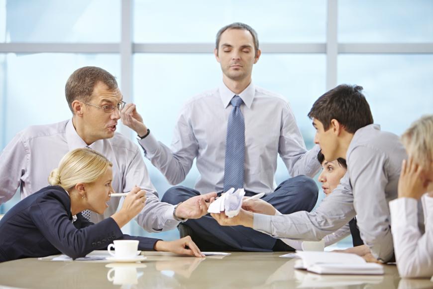 Zen in an office meeting.